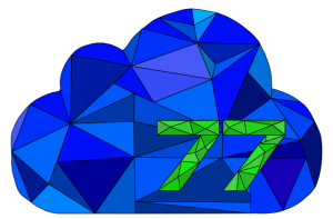 The Cloud77 logo of a blue, jewel-like cloud with the number 77 in green.